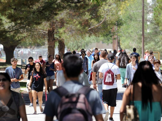 Students walk the International Mall this semester at New Mexico State University in Las Cruces.
