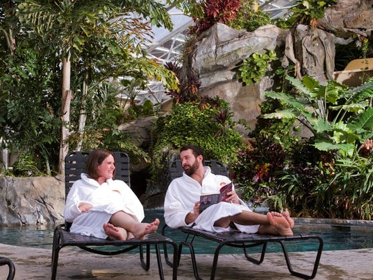 Crystal springs couple at pool