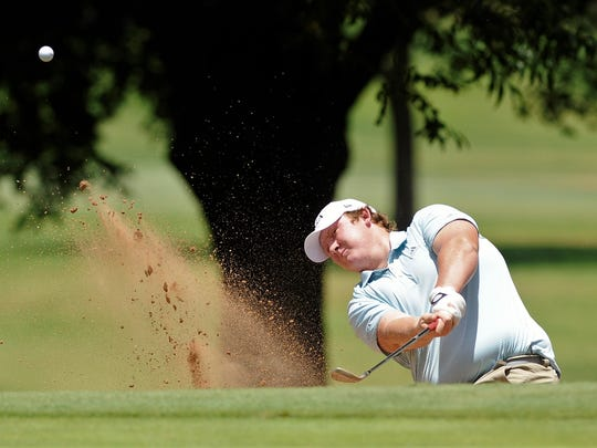 Comanche's Kasey Middleton hits out of a bunker during the second round of the AJGA Folds of Honor Junior Championship hosted by Bob Estes at the Abilene Country Club on Wednesday, July 18, 2018.