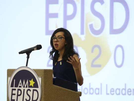 Cynthia Gomez, a senior at Bowie High School, speaks to the audience at the EPISD 2020 Creating Global Leaders Luncheon on Wednesday morning at the Wyndham El Paso Airport Hotel and Water Park. Gomez shared her story about the struggles she faced along with her family in order to be able to attend school in the United States after living in Mexico during her early school years. Superintendent Juan Cabrera gave a State of the District address and discussed accomplishments that have been made during his tenure.