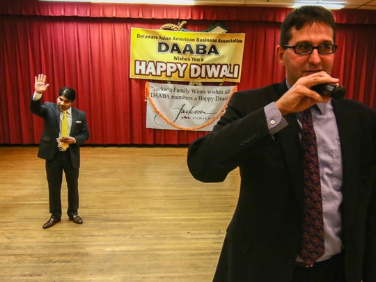 """County Executive candidate Matt Meyer addresses the audience members during Diwali """"festival of lights"""" Sunday, Oct 23, 2016 at the Nur Shrine in New Castle."""