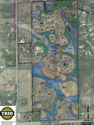 This rendering shows a site plan for the proposed Edgewood Preserve subdivision in Menomonee Falls. The plan calls for 45 home lots on the 62-acre parcel.