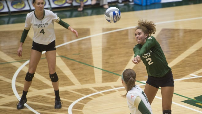 CSU defensive specialist Cassidy Denny passes a ball in a match earlier this season. The Rams host Utah State at 1 p.m. Saturday.