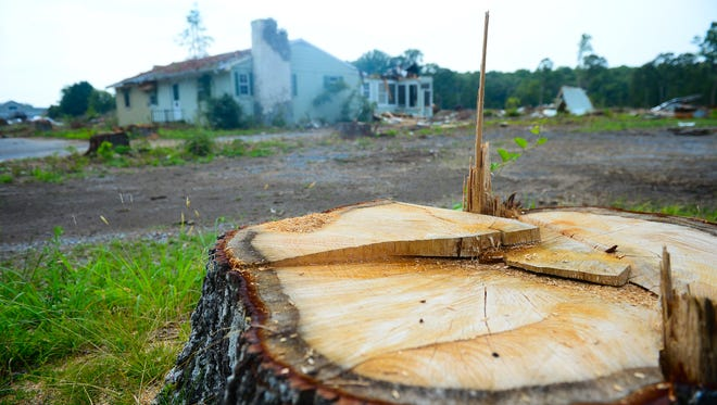 Tree's have been cleared of the land and two buildings are set for demolition at Pelican Landing on Route 24 in Lewes, Del. on Thursday, July 20, 2017.
