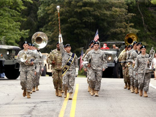 The 78th Army Band marches as Randolph hosts their