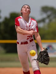 North Fort Myers' pitcher Mackenzie Peterson throws a pitch in the second inning of their District 6A semifinal game against Land O' Lakes during the FHSAA Softball State Championships at Historic Dodgertown in Vero Beach on Friday, May 19, 2017. CQ: Mackenzi Peterson