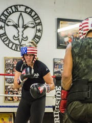 Candice Wells spars as she prepares for a Silver Gloves Tournament in 2017.