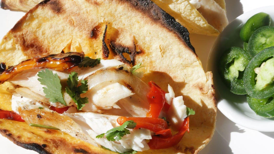 Grilled Mahi Mahi Tacos with Peppers and Onion