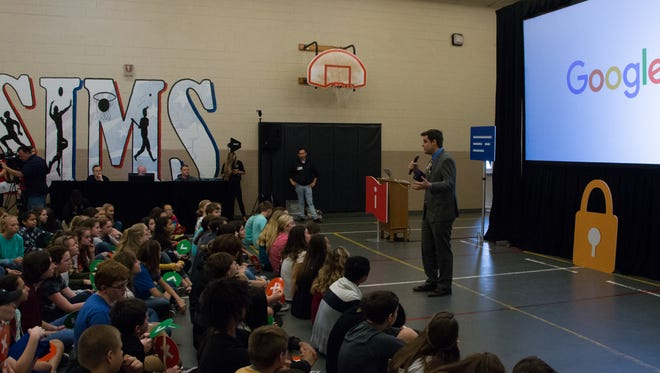 Rep. Matt Gaetz speaks to students at Sims Middle School in Pace on Tuesday, March 27, 2018.