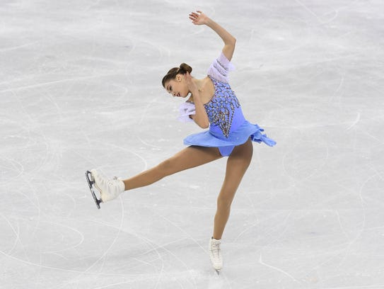 Alexia Paganini (SUI) performs in the ladies figure