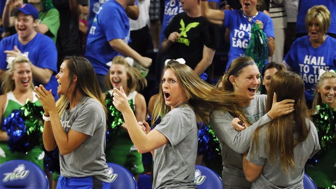 FGCU's Jenna Cobb reacts in disbelief after learning they will play Oklahoma State in the NCAA tournament during a watch party Monday at Alico Arena in Fort Myers. FGCU lost to Oklahoma in the NCAA tournament last year.