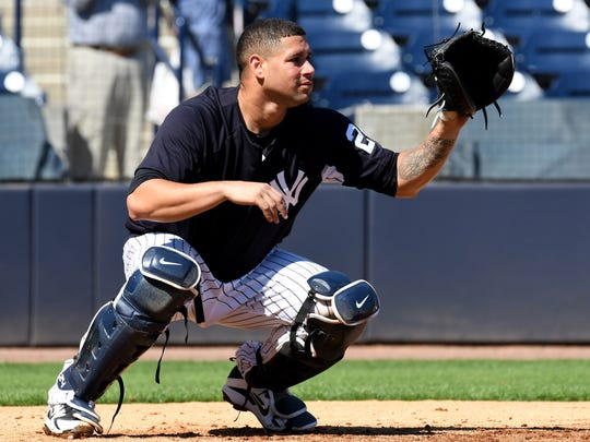 Yankees catcher Gary Sanchez waits for a throw during