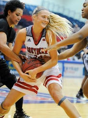 Kaydie Grooms (33) battles for the ball during the University of Southern Indiana Thanksgiving Classic at USI, Nov. 26, 2016. Southern Indiana beat Young Harris 81-48.