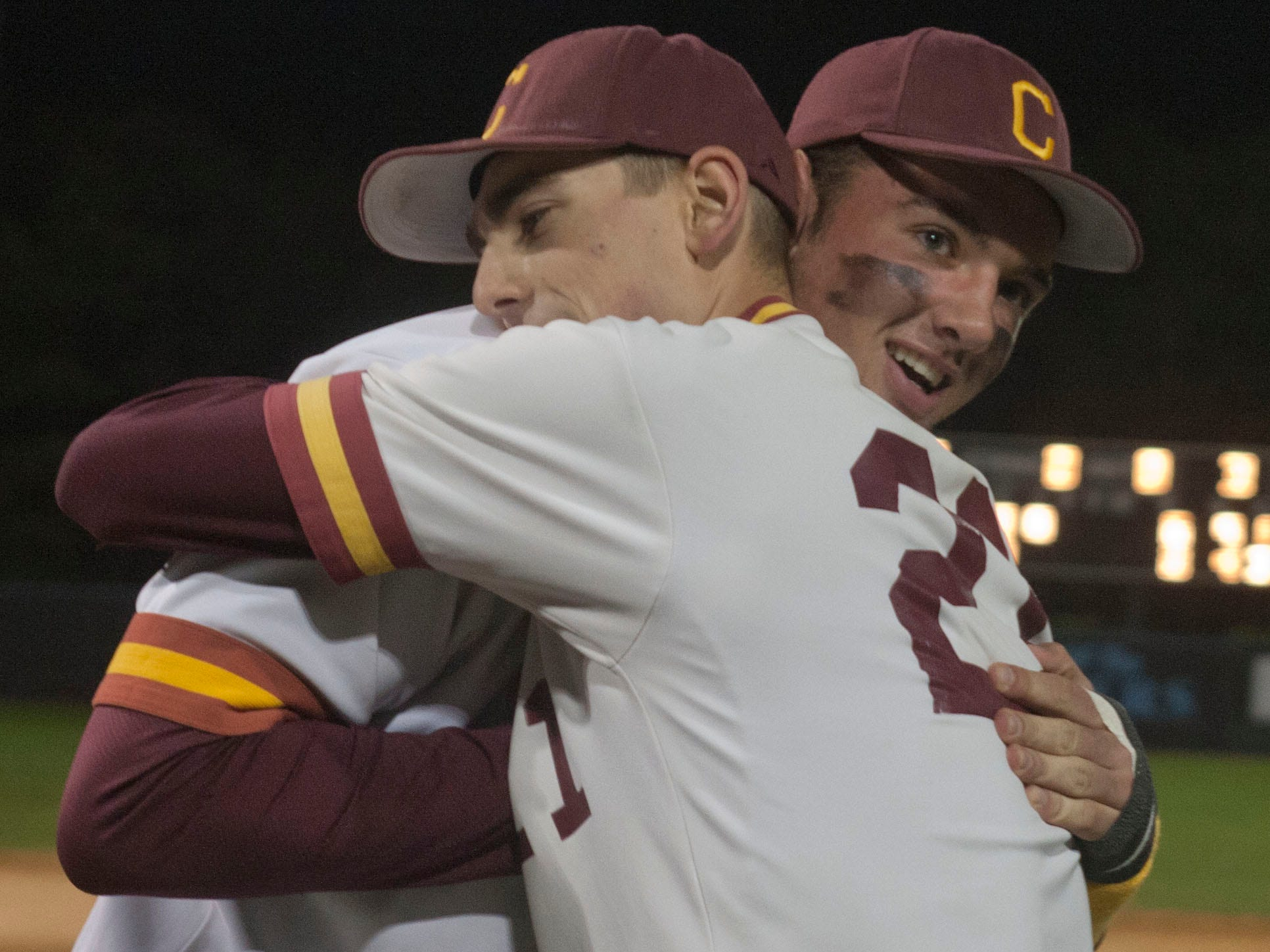 Central Regional won the OCT title last year as Anthony Arneth (right), shown by being hugged by former Central standout pitcher Andrew DiPiazza, pitched a shutout in the championship game against Barnegat. Central is the No. 11 seed in this year's OCT.