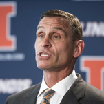 In this Aug. 28, 2015, file photo, University of Illinois athletic director Mike Thomas announces offensive coordinator Bill Cubit as the interim coach of the Illinois football team, during a news conference in Champaign, Ill. Illinois fired athletic director Mike Thomas Monday, Nov. 9, 2015, as it prepares to release the final report from its investigation into mistreatment of football and women's basketball players.