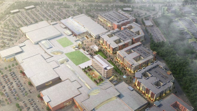 An overview of the proposed Monmouth Town Center shows residential and commercial uses.