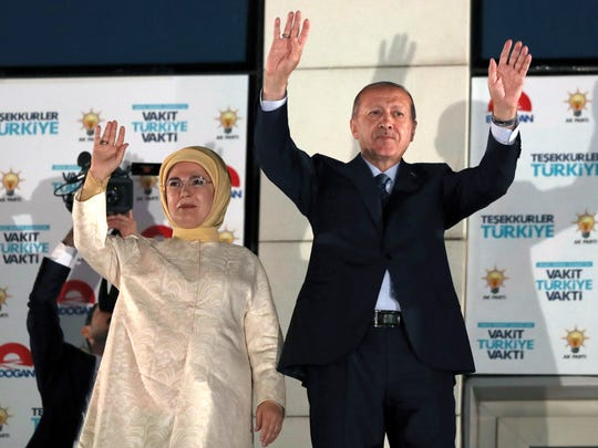 Turkish President Recep Tayyip Erdogan and his wife