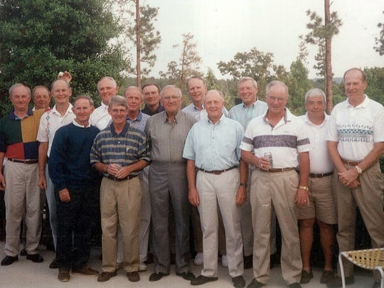 "The ""Charlie Browners"" pose for a 25th anniversary picture during their trip to Southern Pines, N.C., in 1994. Front, from left, C.K. Polly, Jim Cooke, Ralph Degen, Billy Sandifer, Des WrayTom Wood, Frank Summers; back, from left, Bill Saxman, Dick Wray, Braxton Green, Frank McDonough, Tom Altizer, Bruce Grover, Chuck Arnold, Tom Vaughn."