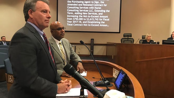 Huron official Rich Namerow and county health chief Johnson Gill presented the $9.8 million contract Tuesday before the Ventura County Board of Supervisors.
