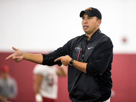 Iowa State Head Coach Matt Campbell runs a practice