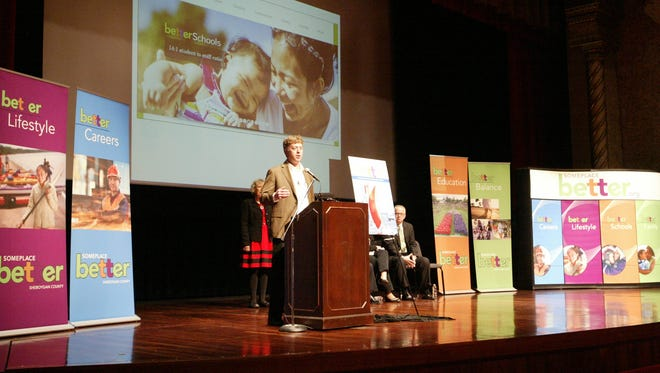 Sargento Foods CEO Louie Gentine speaks Tuesday, Jan. 5, at the Stephanie H. Weill Center for the Performing Arts during the unveiling of a new marketing campaign aimed at attracting workers to Sheboygan County.