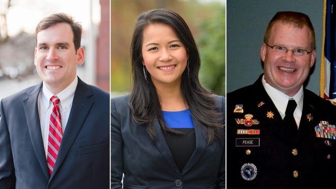 From left: Democrat John Cronin topped Sen. Dean Tran of Fitchburg; Rep. Tram Nguyen fended off Republican challenger Jeff Dufour in the Merrimack Valley; and Kelly Pease reclaimed the Fourth Hampden House District for the Republicans.