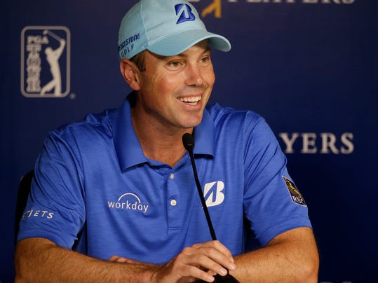 Matt Kucher answers questions at a news conference during practice rounds for The Players championship golf tournament at TPC Sawgrass in Ponte Vedra Beach, Fla., Wednesday, May 7, 2014. (AP Photo/John Raoux)