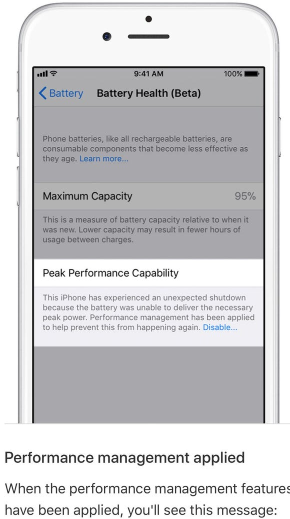 The iPhone Battery Health feature is in beta.