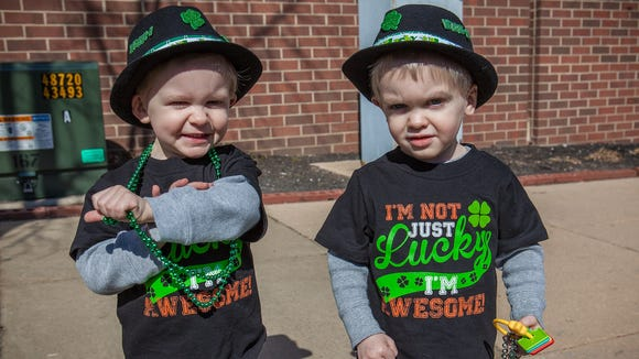 Blaine (left) and Crue Doherty, 2 1/2-year-old twins from Newark.