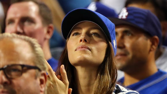 Jessica Biel celebrates after Dodger Joc Pederson hits