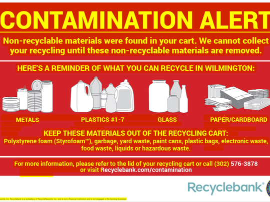 Some Wilmington residents are finding these memos on their recycling cans, reminding them to check what they put in or risk having their waste go uncollected.
