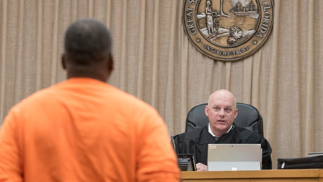 First Circuit Court judge Gary Bergoshpresides over veterans court at the M.C. Blanchard Judicial Building in Pensacola on Tuesday, January 16, 2018.