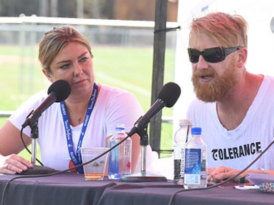 Dorota Kobiela (left) and Hugh Welchman (center) talk up 'Loving Vincent' at Telluride Film Festival, where the film made its U.S. premiere.