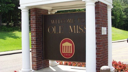 OXFORD, MS - JUNE 7, 2006: This is a campus shot of the entrance to the University of Mississippi in Oxford, Mississippi. (Photo by University of Mississippi/Getty Images)