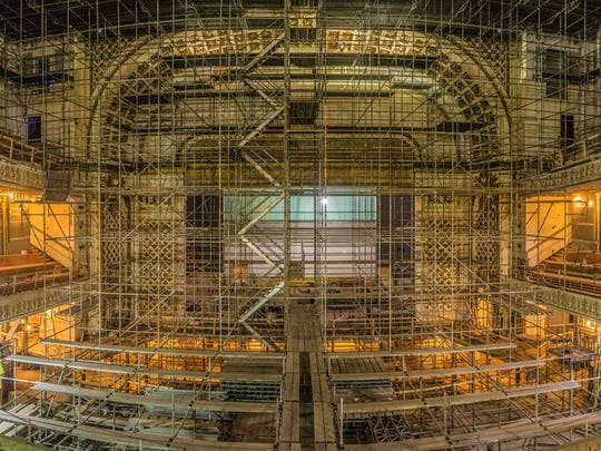 Music Hall's Springer Auditorium is caged in scaffolding during the renovation.