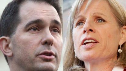 Wisconsin Gov. Scott Walker, left, and Mary Burke.