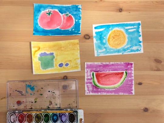 Create postcards by drawing your favorite summer produce, a pretty mountain or beach scene and use watercolors to color them in. A picture of one big item is better than a small one with lots of detail.