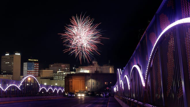 Fireworks fill the sky over downtown El Paso following the El Paso Chihuahuas game.