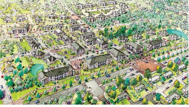 An aerial rendering image shows redevelopment master plans of the Orange Avenue Apartments.