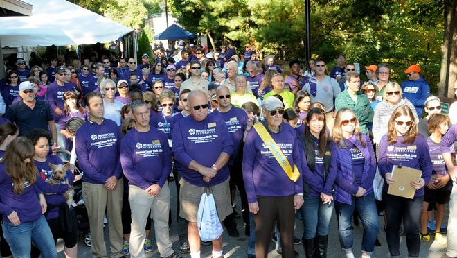 Walkers take part in the Prostate Cancer Walk held on the Walkway Over the Hudson.