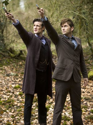 "It's ""eye-twisting and extraordinary and jolting"" to have Matt Smith and David Tennant together in one episode, the show's executive producer Steven Moffat says, since both have redefined the Doctor for this generation"