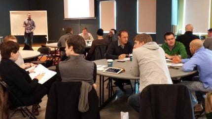 Ocean Accelerator businesses participate in workshops to develop their companies.