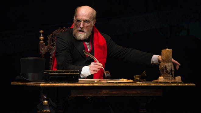 "Jed Diamond returns as Ebenezer Scrooge in the Clarence Brown Theatre's ""A Christmas Carol."""