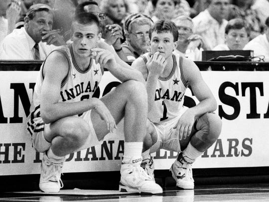 High School basketball stars Eric Montross, left, and