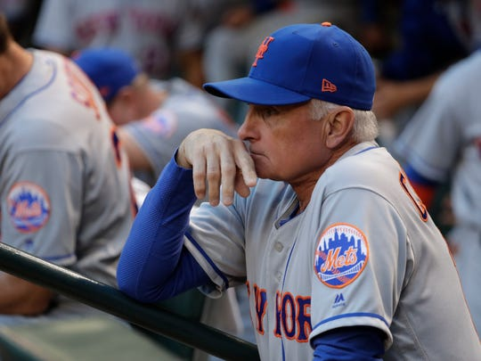 Mets manager Terry Collins during Wednesday's game against the Arizona Diamondbacks. By the end of this week, Collins will be the longest-tenured manager in Mets' history. Hard to believe, really. Then again, nothing is ever easy for Collins and the Mets. With his team on a seven-game losing streak 6 1/2 weeks into a trying season, Collins is set to catch Davey Johnson on Friday night for most games managed in a Mets uniform (1,012).