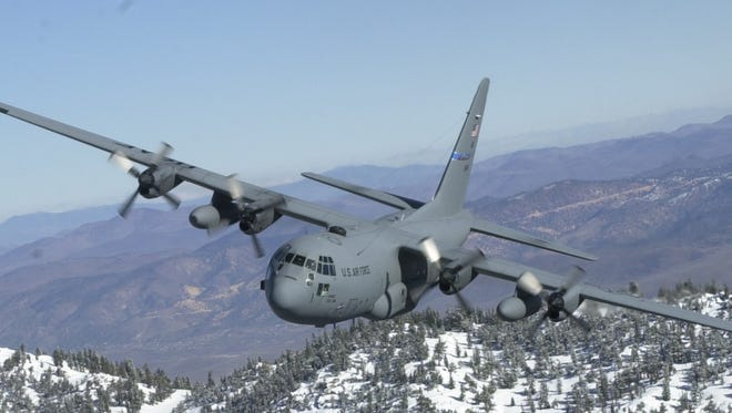A submitted photo of a 152nd Airlift Wing C-130 flying over Lake Tahoe.