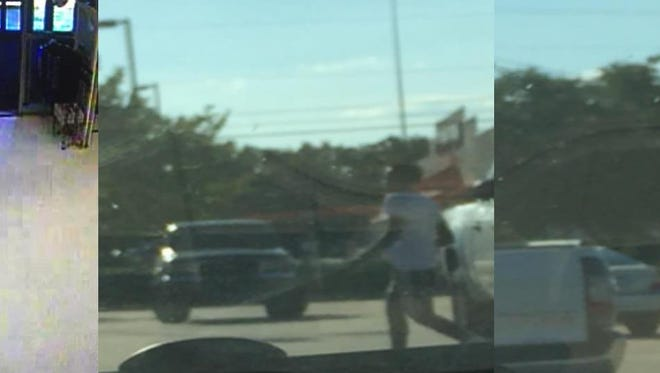 Still images of the alleged car thieves in a sporting goods store parking lot.