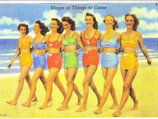 Ann Hinson, center looking down, worked at Cypress Gardens in Polk County when this postcard pic was taken in the mid-'40s. The photo was taken near Indian Rocks Beach. She grew up in Bartow and later moved to Marianna.