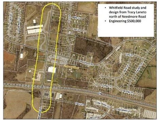 Aerial map of planned Whitfield Road improvements