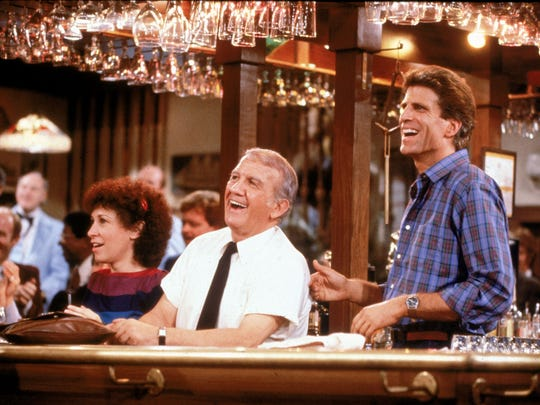 Rhea Perlman, left, Nicholas Colasanto and Ted Danson